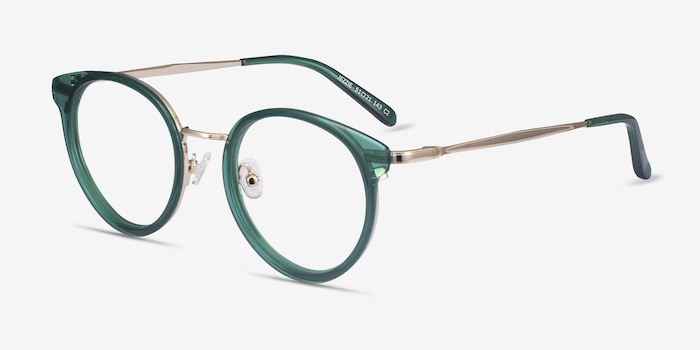 Jezzie Emerald Green & Gold Acetate Eyeglass Frames from EyeBuyDirect, Angle View