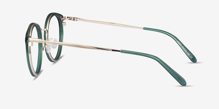 Jezzie Emerald Green & Gold Acetate Eyeglass Frames from EyeBuyDirect, Side View