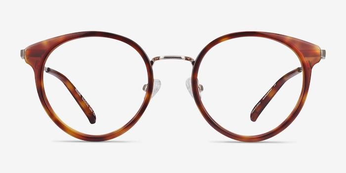 Jezzie Tortoise & Gold Acétate Montures de Lunette de vue d'EyeBuyDirect, Vue de Face