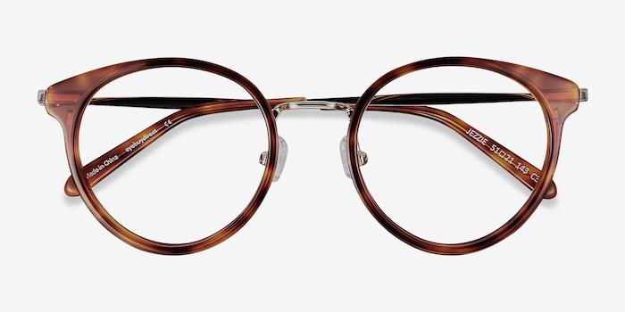 Jezzie Tortoise & Gold Acétate Montures de Lunette de vue d'EyeBuyDirect, Vue Rapprochée