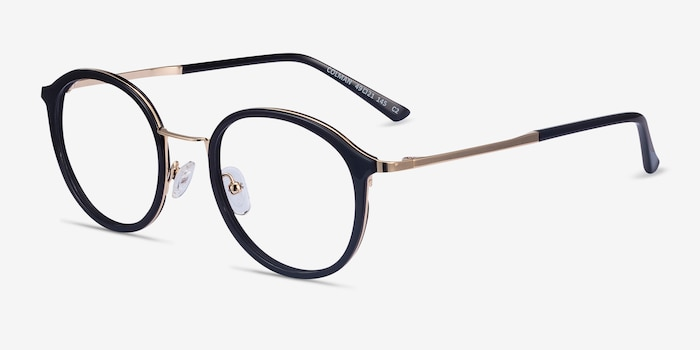 Colman Black Acetate-metal Eyeglass Frames from EyeBuyDirect, Angle View