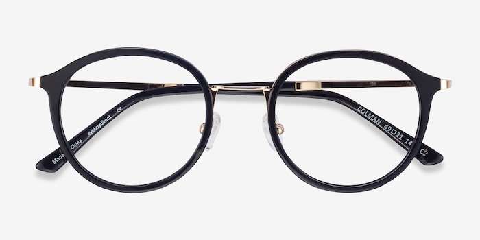 Colman Black Acetate-metal Eyeglass Frames from EyeBuyDirect, Closed View