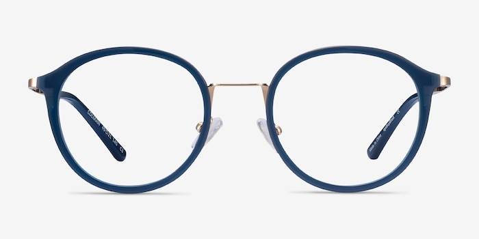 Colman Navy Acetate-metal Eyeglass Frames from EyeBuyDirect, Front View