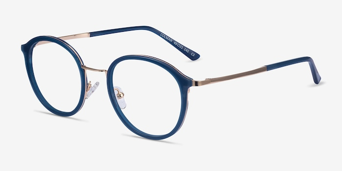 Colman Navy Acetate-metal Eyeglass Frames from EyeBuyDirect, Angle View