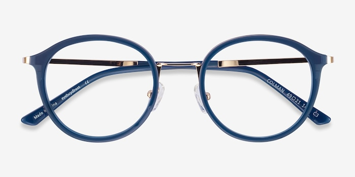 Colman Navy Acetate-metal Eyeglass Frames from EyeBuyDirect, Closed View