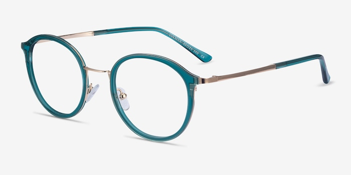 Colman Green Acetate Eyeglass Frames from EyeBuyDirect, Angle View