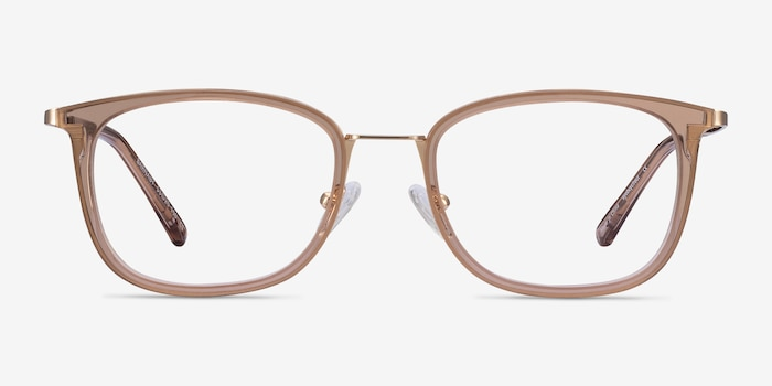 Barnaby Clear Brown Acetate-metal Eyeglass Frames from EyeBuyDirect, Front View