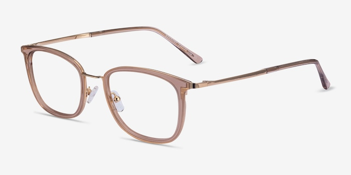 Barnaby Clear Brown Acetate-metal Eyeglass Frames from EyeBuyDirect, Angle View