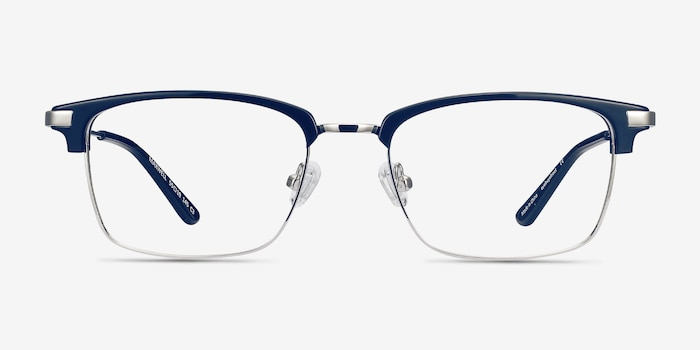 Maxwell Navy Acetate Eyeglass Frames from EyeBuyDirect, Front View