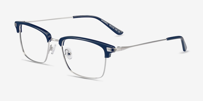 Maxwell Navy Acetate Eyeglass Frames from EyeBuyDirect, Angle View