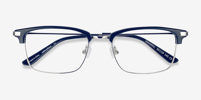 Maxwell Navy Acetate Eyeglass Frames from EyeBuyDirect, Closed View
