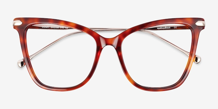 Domy Tortoise Acetate-metal Eyeglass Frames from EyeBuyDirect, Closed View