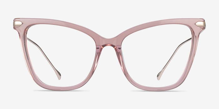 Domy Clear Pink Acetate Eyeglass Frames from EyeBuyDirect, Front View