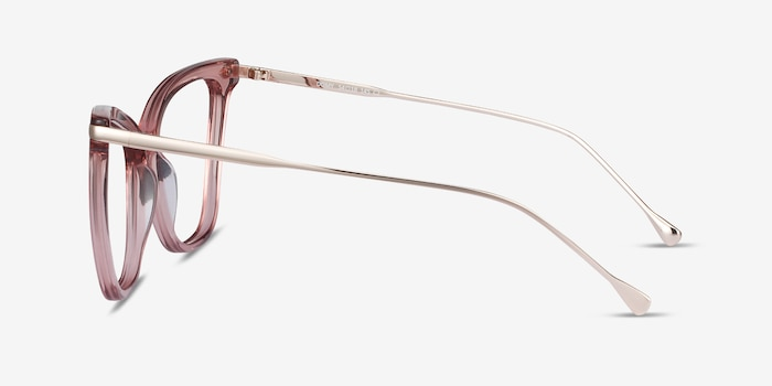 Domy Clear Pink Acetate Eyeglass Frames from EyeBuyDirect, Side View