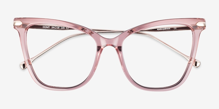 Domy Clear Pink Acetate Eyeglass Frames from EyeBuyDirect, Closed View