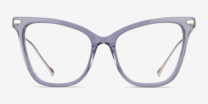 Domy Clear Purple Metal Eyeglass Frames from EyeBuyDirect, Front View