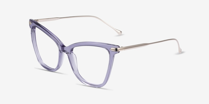 Domy Clear Purple Metal Eyeglass Frames from EyeBuyDirect, Angle View