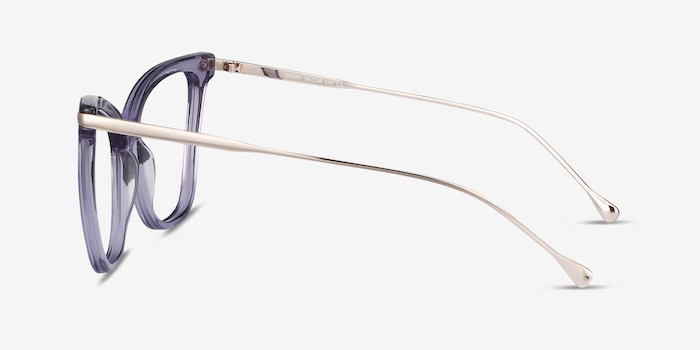 Domy Clear Purple Metal Eyeglass Frames from EyeBuyDirect, Side View