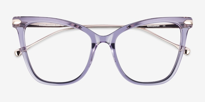Domy Clear Purple Metal Eyeglass Frames from EyeBuyDirect, Closed View