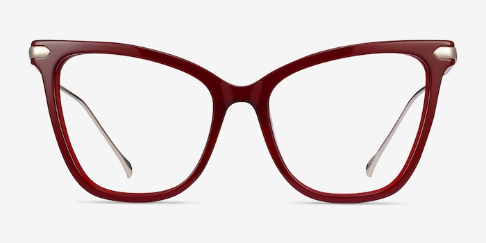 Domy Burgundy Acetate Eyeglass Frames from EyeBuyDirect, Front View