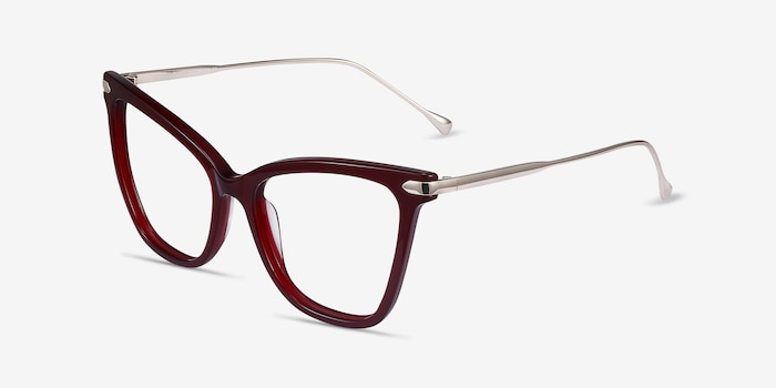 Domy Burgundy Acetate Eyeglass Frames from EyeBuyDirect, Angle View