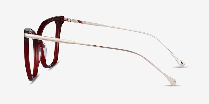 Domy Burgundy Acetate Eyeglass Frames from EyeBuyDirect, Side View