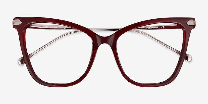 Domy Burgundy Acetate Eyeglass Frames from EyeBuyDirect, Closed View