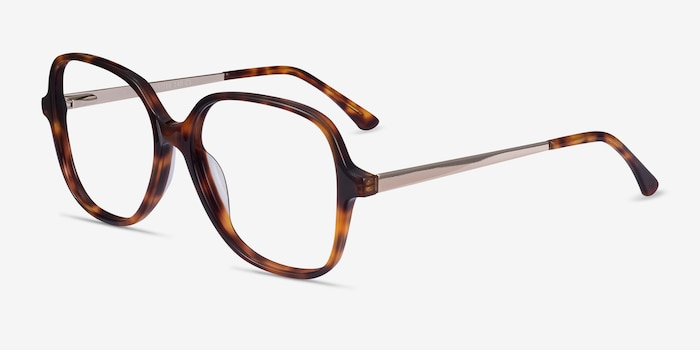 Corey Tortoise Acetate-metal Eyeglass Frames from EyeBuyDirect, Angle View