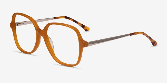 Corey Mellow Yellow Acetate Eyeglass Frames from EyeBuyDirect, Angle View