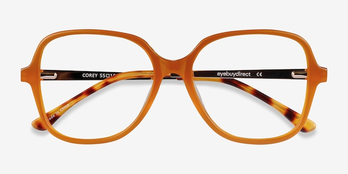 Corey Mellow Yellow Acetate Eyeglass Frames from EyeBuyDirect, Closed View