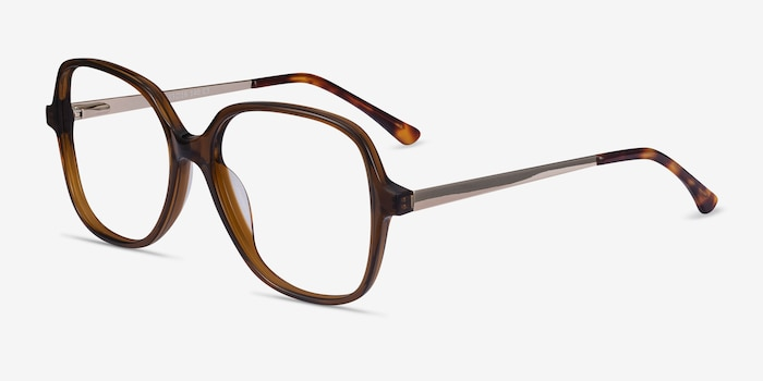 Corey Coffee Acetate-metal Eyeglass Frames from EyeBuyDirect, Angle View
