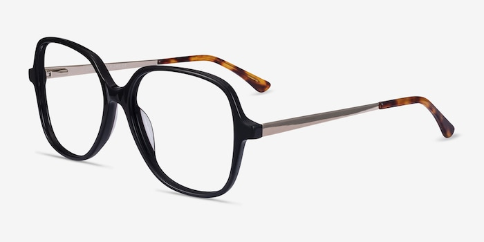 Corey Black Acetate-metal Eyeglass Frames from EyeBuyDirect, Angle View