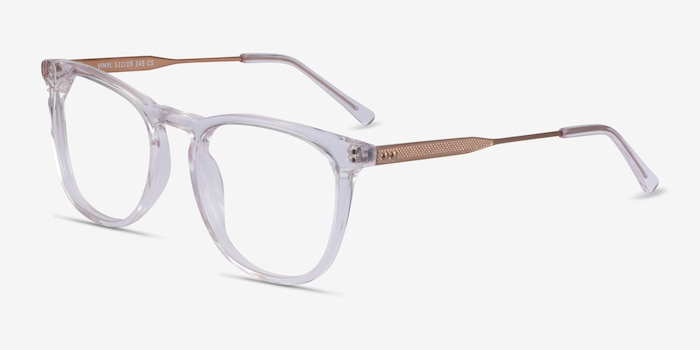Vinyl Clear Acetate Eyeglass Frames from EyeBuyDirect, Angle View