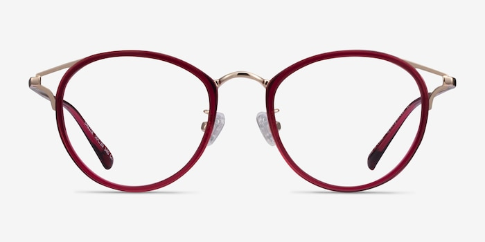 Dazzle Raspberry Acetate-metal Eyeglass Frames from EyeBuyDirect, Front View