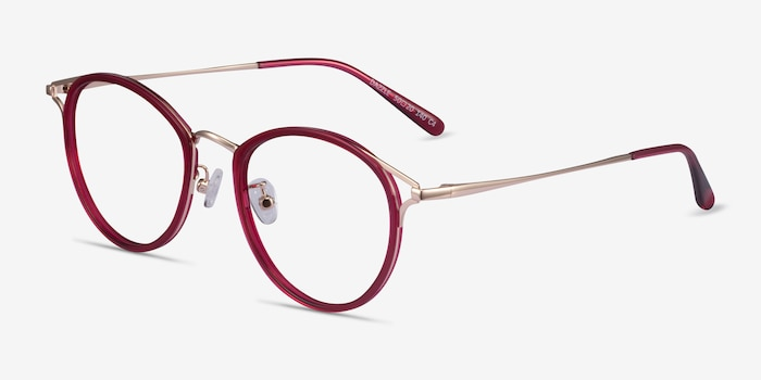 Dazzle Raspberry Acetate-metal Eyeglass Frames from EyeBuyDirect, Angle View