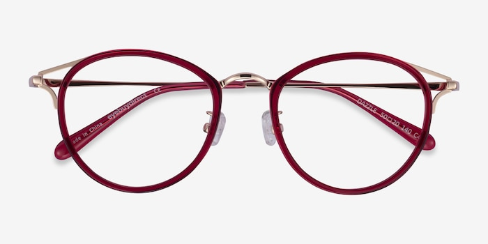 Dazzle Raspberry Acetate-metal Eyeglass Frames from EyeBuyDirect, Closed View
