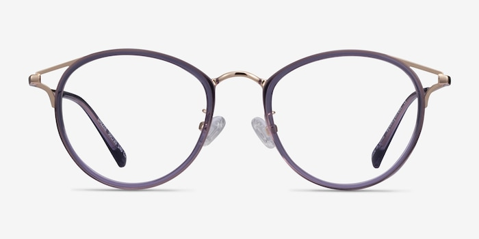 Dazzle Purple Acetate-metal Eyeglass Frames from EyeBuyDirect, Front View