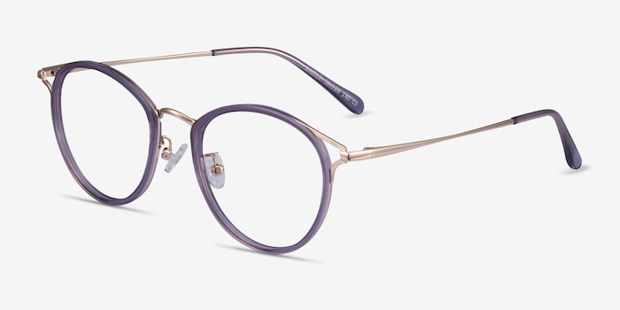 Dazzle Purple Acetate-metal Eyeglass Frames from EyeBuyDirect, Angle View