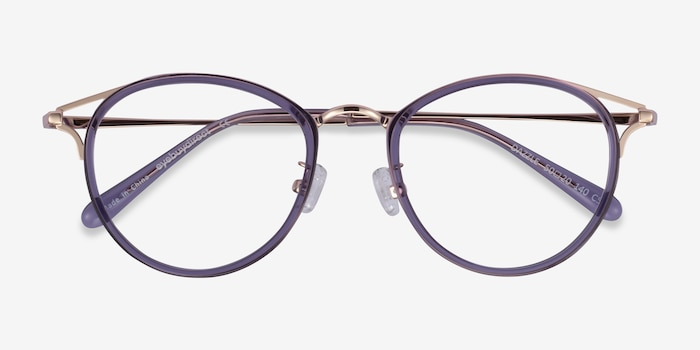 Dazzle Purple Acetate-metal Eyeglass Frames from EyeBuyDirect, Closed View