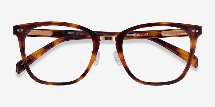 Biblio Tortoise Acetate-metal Eyeglass Frames from EyeBuyDirect, Closed View