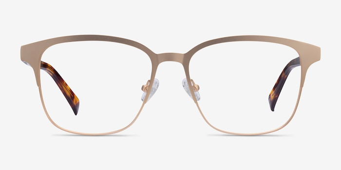 Intense Matte Gold Tortoise Acetate Eyeglass Frames from EyeBuyDirect, Front View