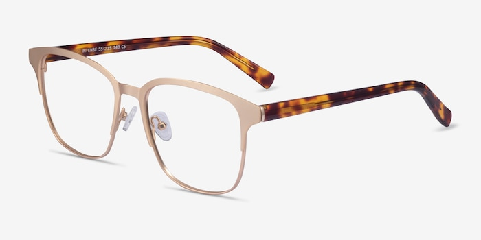 Intense Matte Gold Tortoise Acetate Eyeglass Frames from EyeBuyDirect, Angle View