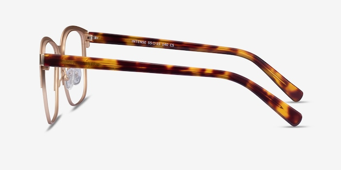 Intense Matte Gold Tortoise Acetate Eyeglass Frames from EyeBuyDirect, Side View