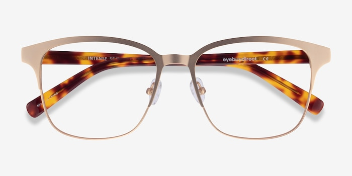 Intense Matte Gold Tortoise Acetate Eyeglass Frames from EyeBuyDirect, Closed View