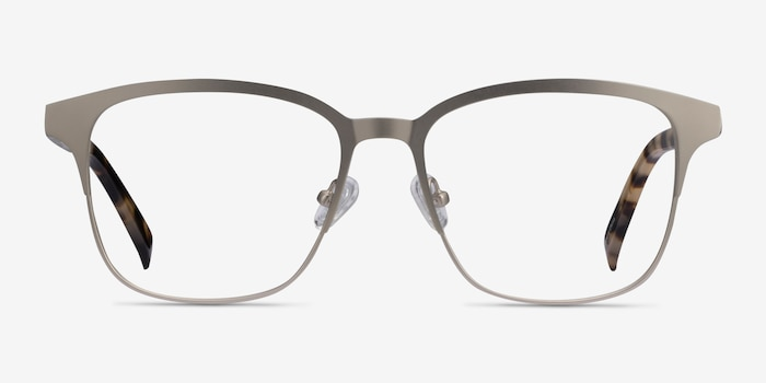 Intense Matte Silver Tortoise Acetate-metal Eyeglass Frames from EyeBuyDirect, Front View