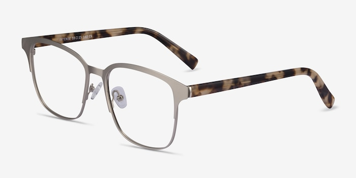 Intense Matte Silver Tortoise Acetate-metal Eyeglass Frames from EyeBuyDirect, Angle View
