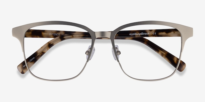 Intense Matte Silver Tortoise Acetate-metal Eyeglass Frames from EyeBuyDirect, Closed View