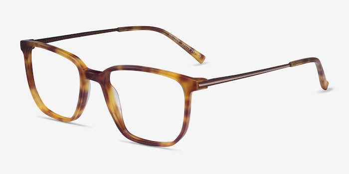 Pattern Tortoise Acetate Eyeglass Frames from EyeBuyDirect, Angle View