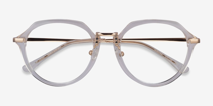 Tamara Clear Yellow Acetate Eyeglass Frames from EyeBuyDirect, Closed View