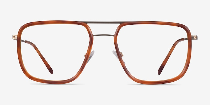 Cassian Tortoise Gold Acetate Eyeglass Frames from EyeBuyDirect, Front View